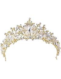 Santfe Tiara de cristal hecho a mano de 5 cm para novia, boda, graduación, corona de diamantes de imitación