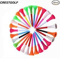 "crestgolf 23/4""goma Top Equipo de Golf Tees de plástico, pack de 50pcs"
