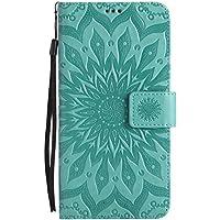 Uposao Handyhülle für Huawei Mate 9 Leder Tasche Schutzhülle Handy Tasche Luxus Schöne Mandala Blumen Muster Ledertasche Leder Hülle Bookstyle Klapphülle Flip Case Cover,Grün