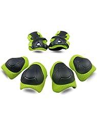 SKL Bambini Kit Protezione Set di Ginocchiere Gomiti Polsiere Protettivo Set per Kids Protective Gear per Ginocchia Guard Gear 6 PCS (Verde)