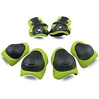 Bambini Kit Protezione Set di ginocchiere Gomiti Polsiere Protettivo Set Per Kids Protective Gear per Ginocchia Guard Gear 6 PCS (Verde)