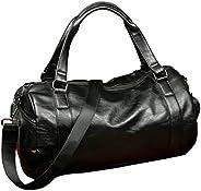 Sports Travel Duffel Bag Top PU Leather Handbag Totes for Men, Gym Bag (Black, One_Size)