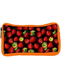 Snoogg Eco Friendly Canvas Strawberries Designer Student Pen Pencil Case Coin Purse Pouch Cosmetic Makeup Bag