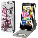 Coque2mobile® Etui en Cuir avec coque rigide pour Nokia lumia 630/635 Paris Paris