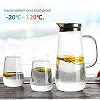 Homfa Jarra Agua 1.5 L para Frigorífico con Tapa y 2 Vasos de 380 ML Jarra de Cristal Resistente al Calor para Agua Caliente Y Fría