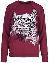 Oops Outlet Women`s Halloween Spooky Jumpers Ladies 3 Skull Forever Young Fleece Sweatshirt Party Top