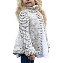 feiXIANG La Ropa de los niños niño pequeño bebé niña Ropa botón de la Ropa suéter de Punto Chaqueta de la Rebeca de la Camisa de Las Muchachas Color sólido ...