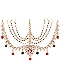 I Jewels Traditional Gold Plated Kundan Maang Tikka For Women (T2002MG)