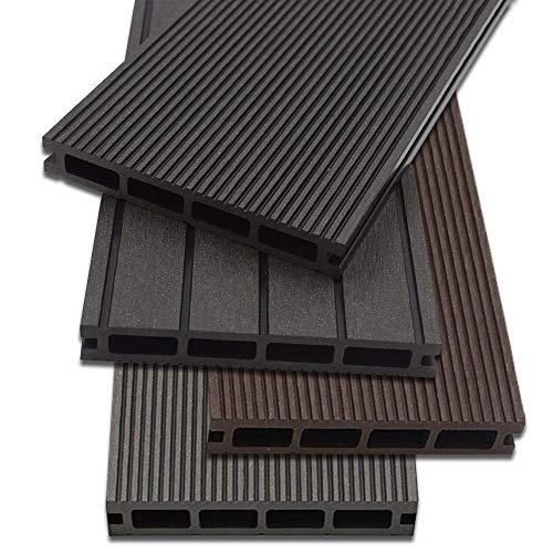 *Home Deluxe – WPC Terrassendiele Anthrazit – Menge: 12 m² – 4 verschiedene Farben – Inkl. Unterkonstruktion und komplettem Zubehör*