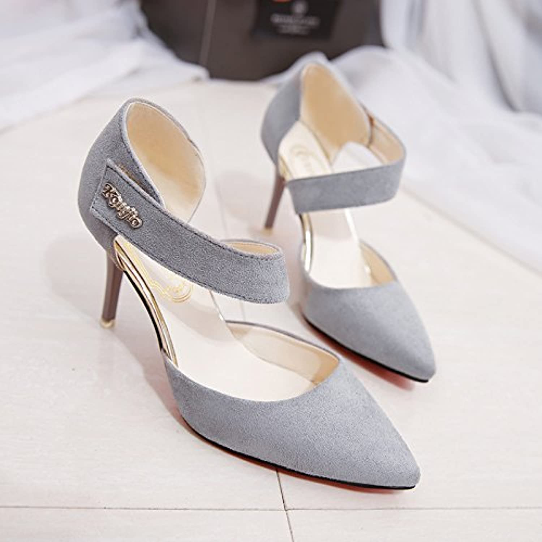 Les Belles Chaussures à Talons Talons Talons Hauts avec_Summer Creux Baotou Sleek et Polyvalent Fine avec de la Dentelle, Gris 37B07F2JL8SMParent c56589