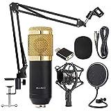Studio WIRED 3.5MM JACK Condenser Microphone Kit BM800 with Pop Filter/Scissor Arm Stand/Shock Mount for Studio Recording Pod