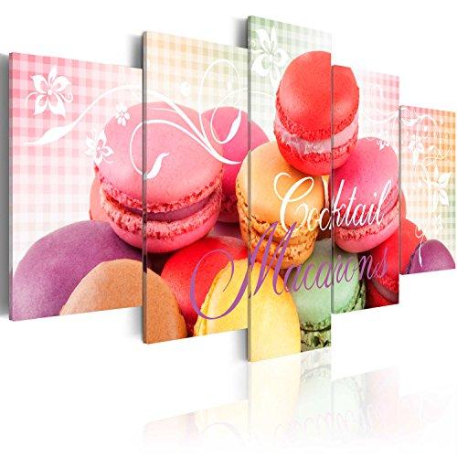 Quadro 200x100 cm ! Tre colori da scegliere - 5 Parti - Grande formato - Quadro su tela fliselina - Stampa in qualita fotografica - Macarons Dolci j-A-0049-b-o 200x100 cm B&D XXL