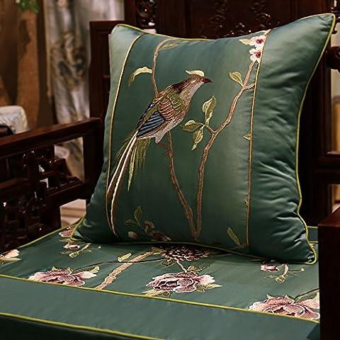 Home divano Decorazione auto ornamento tenere buttare cuscino cuscino Natale ringraziamento Giftmodern cuscino uccello Ricamo classico divano letto cuscini schienale ,60x60cm,verde scuro - Uccello Rivestimento In Tessuto