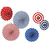 Set Of 6 Colourful Party Decoration Paper Fan For Wedding Party , Birthday Party , Baby Shower ,Theme Party Decoration