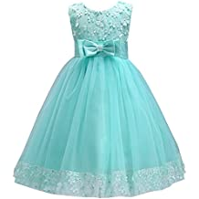 Obeeii Niña Vestido Sin Mangas de Encaje Floral con Lazo Elegante Princess Vestido de Tul para
