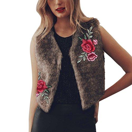 Ibaste 2017 nuovo rose ricamo gilet pellicce sintetiche corto cappotto donna invernale