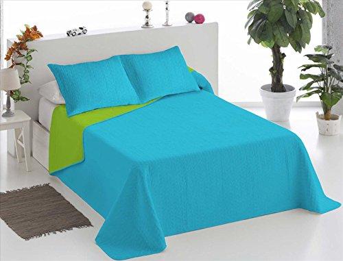 ForenTex Q-TP Couvre-lit boutis réversible thermo-imprimé avec garnissage léger Bicolore turquoise/pistache cama 150 cm (250 x 260 cm)
