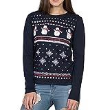 Weihnachten Schneemann langärmelige oben - Frauen - Marineblau - Alternative zum Weihnachten pullover (XL - EU 42)