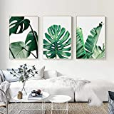 Set de 3 Impressions sur Toile Vert Tropical Plante Feuilles Poster Décoration Murale Nature Tableau Modern Affiches Deco Salon PTLS005-M