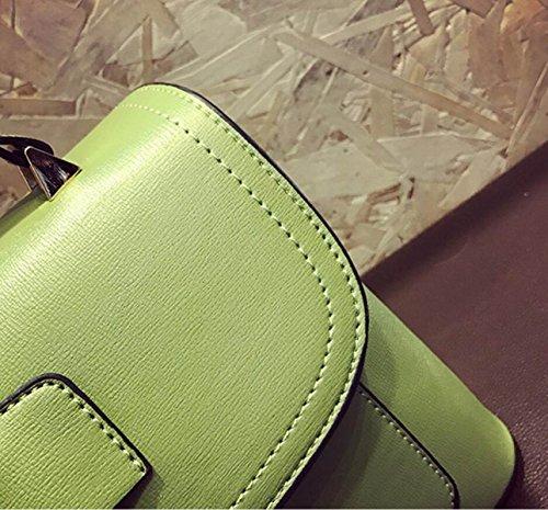 FZHLY Nuova Nappa Borsa Semplice Spalla Di Svago Borsa Doppio,Green Pink