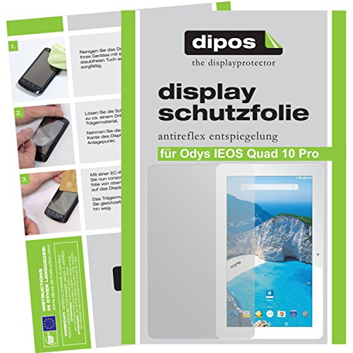 dipos Odys IEOS Quad 10 Pro Schutzfolie (2 Stück) - Antireflex Premium Folie matt