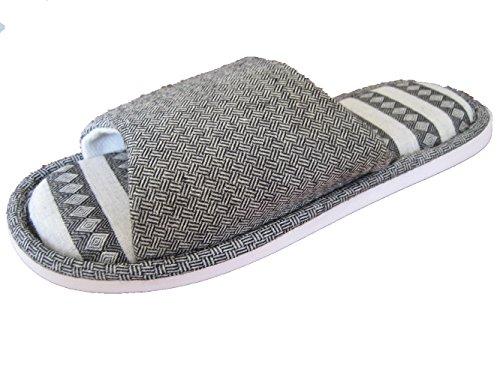 GR Leinen Hausschuhe, Männer und Frauen Haus Hausschuhe, rutschfeste Leinen Hausschuhe, Home Cool Sandalen Gray