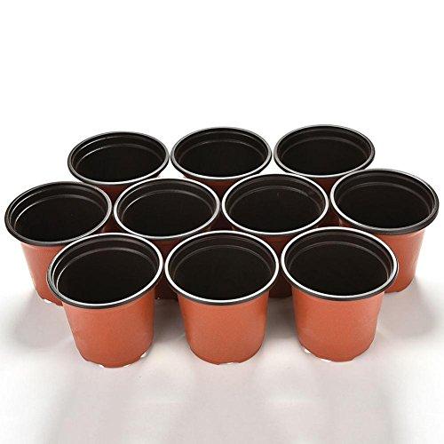 Petit pot de fleurs rond en plastique couleur terre cuite Bluelans® - Lot de 10 - Décoration intérieure