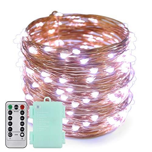 Erchen Batteriebetrieben LED Lichterkette, 66 FT 200 LED 20M dimmbare Kupfer Draht Lichterketten mit Fernbedienung 8 Modi Timer für Innen Außen Weihnachten Party (Weiß)