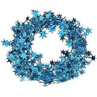 Cosanter Alambre de Hierro Espumillón para Cinta de árbol de Navidad Navidad Colgar Decoración Adornos de Navidad (Azul) 7m