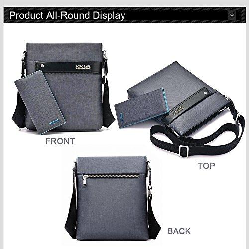 Ranbow PVC Umhängetasche Messenger Ipad Portfolio Splicing Bag Man Fall schlank Ordner lässig Beutel mit Portemonnaie Geschäfts Blau
