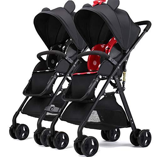 WYX-Stroller Twin Kinderwagen Ultra Light Portable Kann Sitzen Liegen Abnehmbare Folding Double Pram,c (Bike Double Stroller)