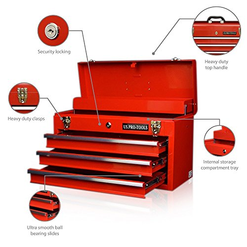 ORIGINAL US PRO TOOLS TOOL BOX TOOL CABINET 4 DRAWER HAND HELD TOOL CHEST PORTABLE RED by us pro tools