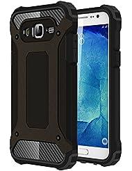 Skitic Etui Housse Coque Anti Choc pour Samsung Galaxy J5 2015 (SM-J500F), 2 en 1 Hybride Armour Case TPU + PC Incassable Back Cover Rigide Coque de Protection pour Samsung Galaxy J5 2015 Smartphone - Noir