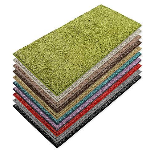 Teppich Läufer Luxury | moderne Shaggy Optik mit flauschigem Hochflor | Teppichläufer in vielen Farben für Flur, Schlafzimmer, Wohnzimmer etc. | viele Breiten und Längen (66 x 200cm, grün)