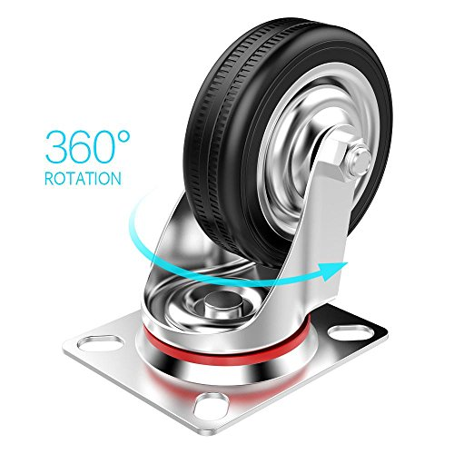 510 6hSc7%2BL - Popamazing - Ruedas giratorias de goma, 4 unidades, resistentes, 200 kg, 75 mm, color negro
