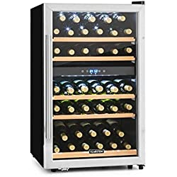 Klarstein Vinamour 40D • Cantinetta • Frigofero per Vino • Volume 135L • 47dB • Ideale per 41 Bottiglie • 2 Zone Programmabili • Display LCD • Touch • 5 Ripiani Estraibili • Classe C • Vetro/Acciaio
