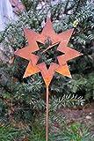 Edelrost Stern offen auf Stab D15cm, inkl. Herz 8x6cm Topfstecker Weihnachten Gartendekoration