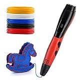 3D Stifte, Gindoly 3D Pen mit LCD Bildschirm 3d Filament DIY Geschenk für Kinder Anfänger Erwachsene Zeichnung, 3D Printing Material 3D Druckstift Set für Kritzelei, Basteln, Zeichnung, Kunstwerk kompatibel mit 1,75 mm ABS/PLA