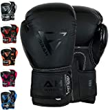 EMRAH Charged V-2 Boxhandschuhe Muay Thai Training Sparring Boxsack Mitts Kickboxen Kämpfen Boxing Gloves (Mattschwarz, 10 oz)