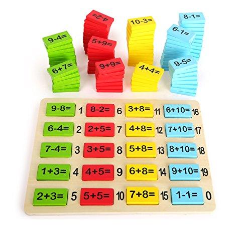 Small Foot 10716 - Plantillas de calculación (Madera de Colores, para Aprender a añadir y a sustracción, Incluye Tablero de Dibujo con soluciones Impresas)