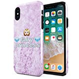 Fairy Princess Emoji Pink Fur Pattern Compatible with Apple iPhone XS Max Silicone Inner & Outer Hard PC Shell 2 Piece Hybrid Armor Case Cover