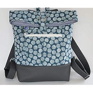 blauer Rucksack Backpack Kuriertasche mit weißem Muster