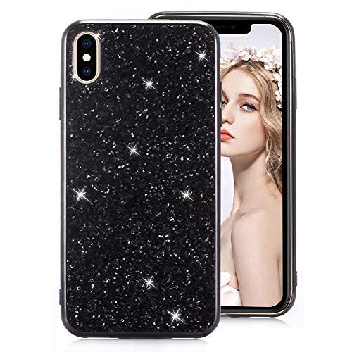 Schwarz Glitzer TPU Hülle für iPhone 7 Plus,Strass Silikon Hülle für iPhone 8 Plus,Moiky Luxus Ultradünnen Kristall Sparkles Überzug Weiche Gel Stoßdämpfend Schutzhülle