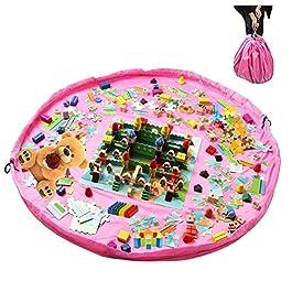 2in1Toy Storage Bag & Play per pavimento, grande portaoggetti portatile, sacco da 150cm (149,9cm) con coulisse, pieghevole Clean Up tappeto per casa Outdoor