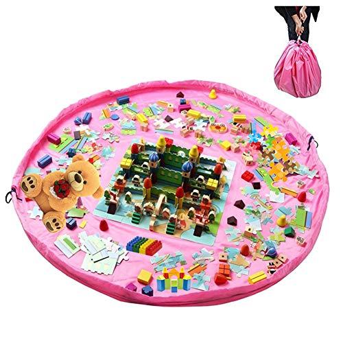 mit Kordelzug Spieldecke Spielzeug Speicher Tasche Aufbewahrung Beutel Spielzeugaufbewahrung 150cm für Zuhause, Outdoor-Rosa ()
