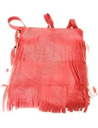 H&V Casual Synthetic Leather Red Fringes Girls Sling/Cross Body Bag