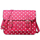 Miss Lulu Brand Vintage Designer Polka Dot Faux Leather Work Briefcase Satchel Bag School Bag (Green Dot)
