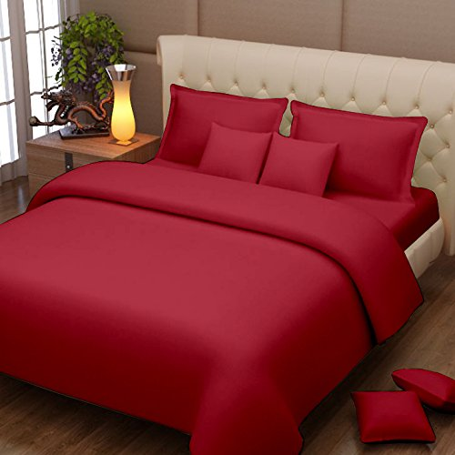 Story @ Home 152 TC 100% Cotton Maroon 1 Double Bedsheet with 2 Pillow Cover