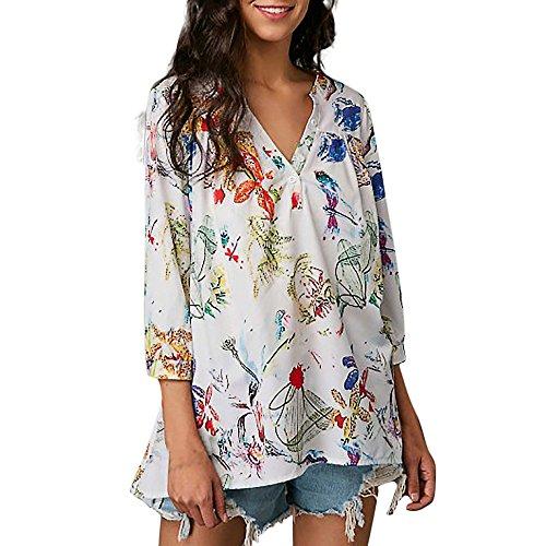 OSYARD Damen Sommer Freizeit Bluse Blumenernte Lange O Neill Tops ärmellose T-Shirt mit Allover Blumendruck