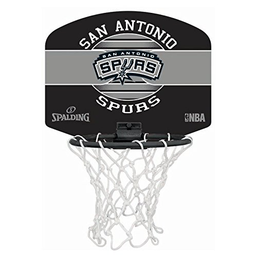 SPALDING - NBA MINIBOARD SA SPURS (77-658Z) - Mini Panier Basket - Logo Officiel NBA - Mini Ballon Inclus - multicolore